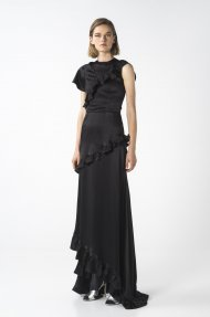 SATIN RUFFLED MAXI DRESS
