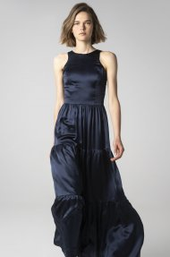 TIERED SATIN DRESS