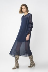 BLUE DRESS WITH PUFF SLEEVES Alternative